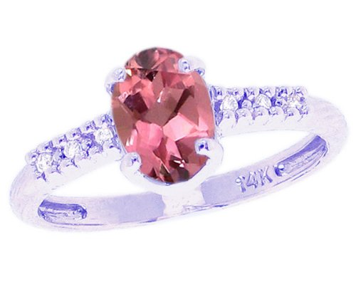 14K White Gold Sweet Oval Gemstone and Diamond North-South Promise Ring-Pink Tourmaline, size8.5