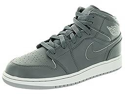 Nike Jordan Kids Air Jordan 1 Mid Bg Cool Grey/White/Wolf Grey Basketball Shoe 5 Kids US