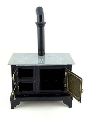 Maison de poup es meuble de cuisine style ancien noir gamme cuisini re meil - Cuisiniere style ancien ...