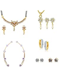 Archi Collection Pack Of Gold Plated CZ Mangalsutra Set, Pendant Set ,Earcuff, Huggie & Stud Earrings(MS107_LT44_EC1_BL3_SS1_SS6)