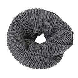 Eyourlife Christmas Women Men Winter Cable Knit Wool Circle Cowl Infinity Scarf Collar Shawl Dark Grey