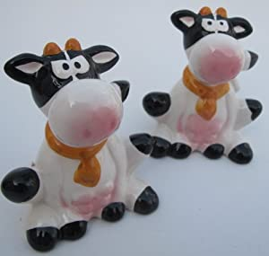 Cow Lovers, Deluxe, Ceramic, Sitting Cow, Salt & Pepper Shakers, Set, Kitchen Accessories
