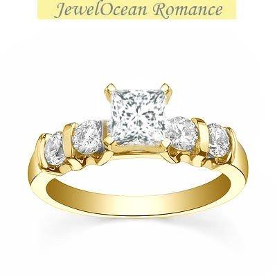 0.58 Carat Cheap Wedding Ring with Princess cut Diamond on 14K Yellow gold