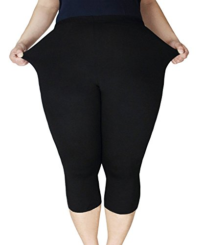 Yanekop Womens Plus Size Capri 3/4 Length Basic Seamless Breathable Leggings(Black 3XL)