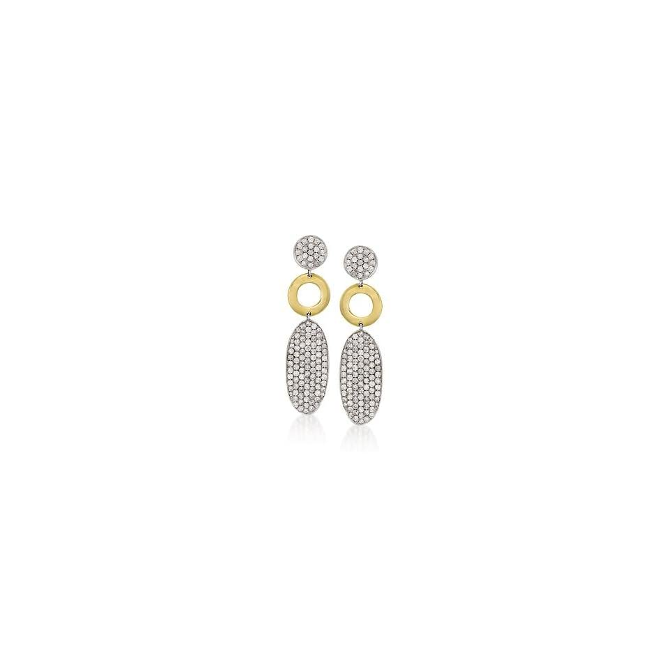 2.20ct t.w. Pave Diamond Circle, Oval Dangle Earrings in Gold