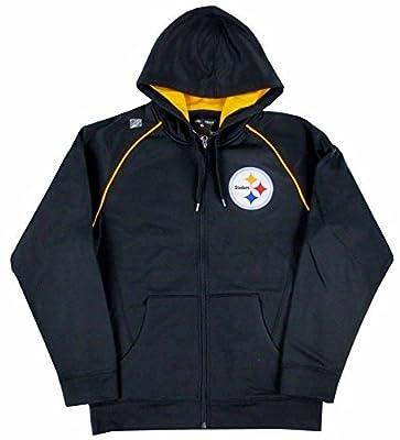 Pittsburgh Steelers NFL Coverage Sack III Black Synthetic Full Zip Fleece Hoodie - Large