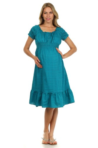 Kate Maternity Nursing Dress (Medium, Dotted Teal)