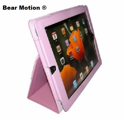 Bear Motion Leather Case  Folio with 3-in-1 built-in Stand for iPad 2 - Pink