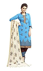 Craftliva Sky And Brown Embroidery Cotton Dresss Material