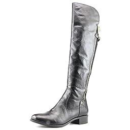 Calvin Klein Women\'s Gladys Equestrian Boot, Black Wide Calf, 7.5 M US
