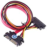 SMAKN(TM) 22-pin (7+15) Sata Male to Female Data and Power Combo Extension Cable - Slimline Sata Extension Cable M/f - 20inch (50cm)