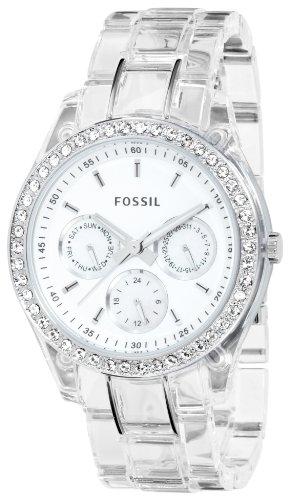 Fossil Women's ES2364 Clear Resin Bracelet White Glitz Analog Dial Multifunction Watch