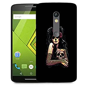 Snoogg Scary Girl With Skull Designer Protective Back Case Cover For Motorola Moto X Play