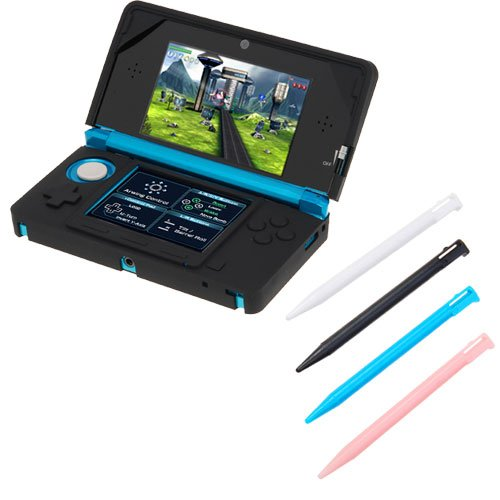 Good Quality  GTMax Black Silicone Skin Rubber Soft Case + 4 Colors Stylus (White / Black /Blue/Pink) for Nintendo 3DS with safe transaction here