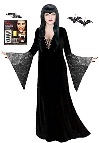 Black Vampiress Black Lace Deluxe Plus Size Supersize Halloween Costume Kit