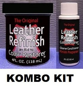 Leather Refinish Color Restorer & Cleaner/Conditioner-Preparer Combo Kit (Red)