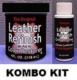 Leather Refinish Color Restorer & Cleaner/Conditioner-Preparer Combo Kit (Black)