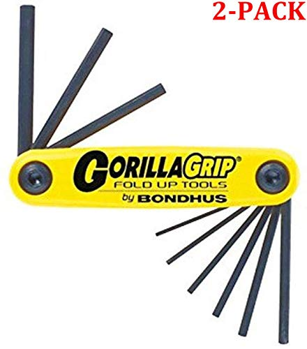 Bondhus 12591 GorillaGrip Set of 9 Hex Fold-up Keys, sizes .050-3/16-Inch (Yellow/Black, 2-Pack) (Color: Yellow/Black, 2-Pack)
