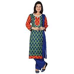 Anksh Printed Royal Blue Cotton Kurti, Salwar & Dupatta For Women (Size-XXL)