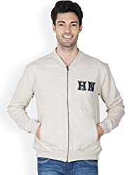 Hypernation Ecru Melange Color Full Sleeves Stylish Sweatshirts For Men
