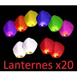 Lot de 20 Lanternes chinoise celestes volantes colorées biodégradable pour fêtes , moments romantiques et magiques