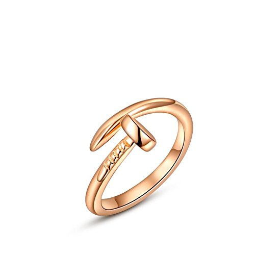 ROXI Women's Alloy Simple Nails Shape Rings Platinum/rose Gold Plated Charm Rings (rose-gold-plated-base, 6) (Two Finger Rings For Teen Girls compare prices)
