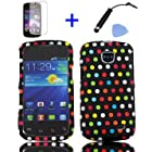 4 items Combo: Mini Stylus Pen + LCD Screen Protector Film + Case Opener + Blue Orange Red White Red White Green Polka Dot Design Rubberized Snap on Hard Shell Cover Faceplate Skin Phone Case for Straight Talk Samsung Galaxy Proclaim 720C SCH-S720C / Verizon Samsung Illusion i110