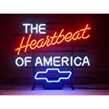 New The Heartbeat of America Chevrolet Chevy Real Glass Neon Light Sign Home ...