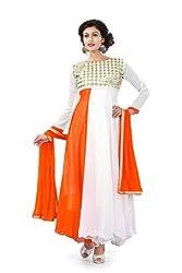 Rudra Fab Orange embroidered georgette semistitched salwar suit