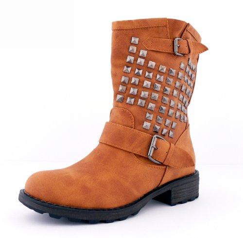 best-boots Damen Boots Schnürer Stiefelette Stiefel gefüttert Winter Nieten CAMEL 354 Größe 37