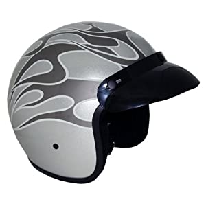 Motorcycle 3/4 Open Face Helmet Snap On Visor Street Cafe Racer DOT - Silver w Flames (Small)