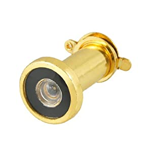 Gino Security 35mm-50mm 180 Degree Door Scope Viewer Cover Peep Hole Gold Tone