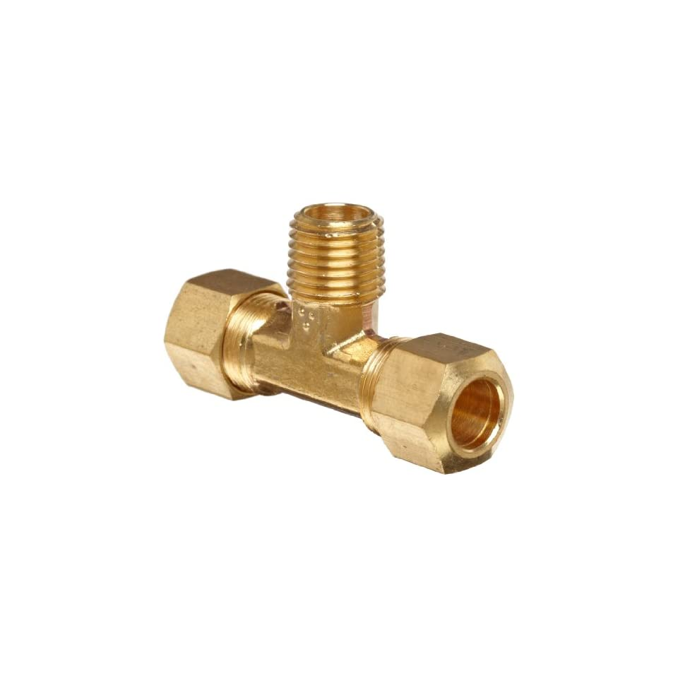 Anderson Metals Brass Tube Fitting, Tee, 3/8 Compression x 1/4 Bottom Male Pipe
