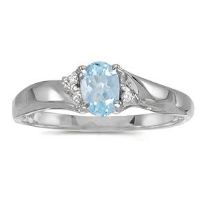 14k White Gold Oval Aquamarine And Diamond Ring (Size 5.5)