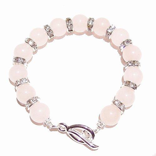 Rose Quartz & Rhinestone Crystal Bracelet 19cm