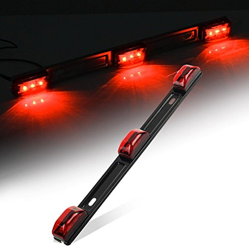 Partsam Red Clearance ID BAR Marker Light 3 Light 9 LED Trailer Sealed Stainless Steel (Red Led Light Bar compare prices)