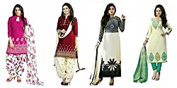 ensassy Women's Cotton Printed casualwear salwar suit dress material combos of 4(btkcoton21a_multicolor_freesize)