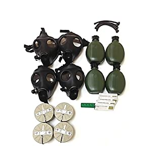 Israeli Gas Mask Full Family Kit, Four (4) Adults Gas Masks, NBC Filters, Canteens, Straws &amp; Anti Radiation 20 Tablets of Potassium Iodide