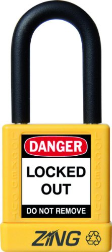 """Zing Recyclock Lockout/Tagout Padlock, Keyed Alike, 1-3/4"""" Body Length, 1-1/2"""" Shackle Clearance, Yellow (Pack Of 1)"""