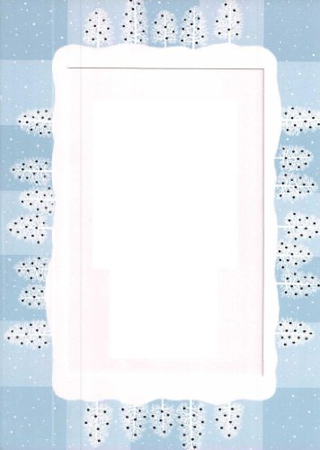 10-Pack-Collectors-Gallery-4x6-Light-Blue-White-Foil-Winter-Trees-Imprinted-Christmas-Photo-Insert-Greeting-Cards-w-Envelopes