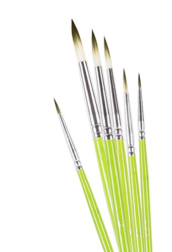 Detail Paint Brush Set CONDA Short Wood Handle Green for Detailing & Art Painting - Acrylic, Watercolor, Oil,Models, Airplane Kits, Nail Artist Supplies (Model Airplane Supplies compare prices)