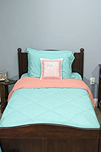 5 Piece Dorm Twin XL Reversible Bed In A Bag with Comforter, Flat Sheet, Fitted Sheet and 2 Pillowcases, Biscay Green & Coral