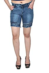 Nifty Women's Denim Shorts (1311, Blue, 32)