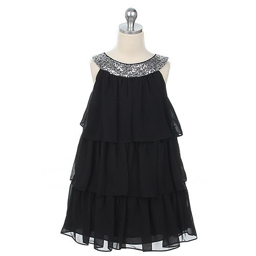 Sweet Kids Little Girls Black Tiered Sequined Holiday Party Dress 5 :