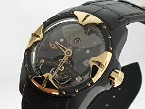 HD3: Capture Tourbillon Limited Edition Men's Watch ( Black PVD & Rose Gold Case / Black Skeleton Dial / Black Leather Strap) by HD3