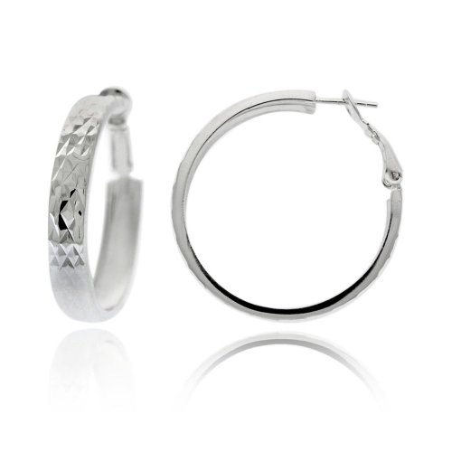 Sterling Silver Diamond-Cut Clutchless Hoop Earrings (1.2