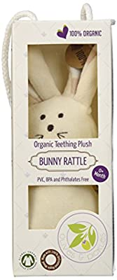 Olives and Pickles Organic Rattle Teething Plush Toy, Bunny, Small