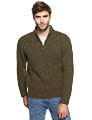 XXXL North Coast Zip Neck Knitted Jumper with Wool