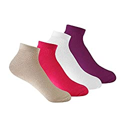 Supersox Womens Sneaker Pack of 4 Plain Combed Cotton Socks
