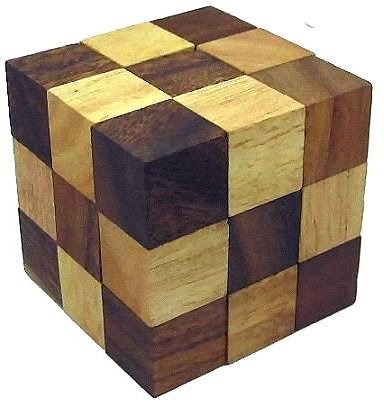 Classic 3D Chain Cube Jigsaw Wooden Puzzle, Brain Teaser, Gift Boxed - 1